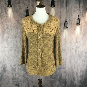 BCBGMaxAzria Brown and Gold Cardigan XL